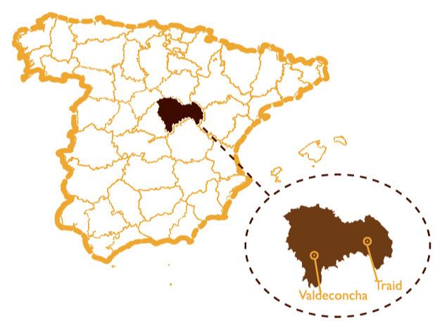 Mapa de localización de nuestros colmenares en Valdeconcha y en Traid